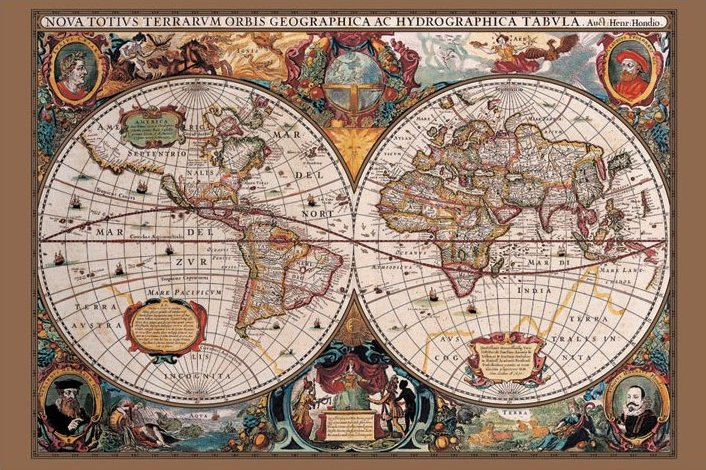 Currynoodles posters online store 17th century world map home maxi posters infographic maps 17th century world map gold ink gumiabroncs Images